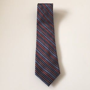 JONES NEW YORK burgundy and blue striped mens tie